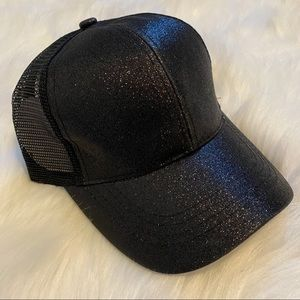 Black Glitter Pony Cap